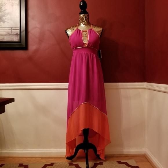 ffc9140a9d2 XOXO Color Block High Low Maxi Dress